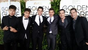 Charlie and Max Carver, Jourdan and Jake Steel, Gary and Larry Lane at Golden Globes